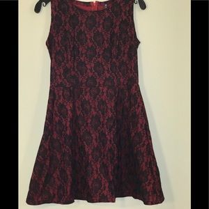 Red and Black Lace Midi Dress